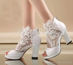 New Fashion Peep Toe Summer Wedding Boots Sexy White Lace Prom Evening Party Shoes Bridal High Heels Lady Formal Dress Shoes Wedding Boots, Wedding Heels, White Lace Shoes, Women's Shoes, Dress Shoes, Shoes 2016, Dance Shoes, Prom Heels, Bridesmaid Shoes