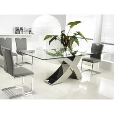 Casabianca Home Geneva Collection Steel/ Glass Dining Table