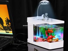 Disciplined Fascinations Usb Desktop Aquarium Brand New In Box Think Geek Office Fish Tank Pet Supplies