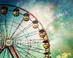"""""""A Little Night Magic"""" PHOTOGRAPH - ferris wheel wall decor. TITLE - A LITTLE NIGHT MAGIC (signed fine art photograph) Hot summer nights at the fair, the smell of popcorn and corn dogs, the colorful flashing lights on the midway, the sound of people screaming and laughing, a warm breeze blowing... those are some of my favorite nights... and the dreamy photography that comes from those nights, some of my favorite photographs. A magical ferris wheel under a surreal starlit sky. Taken on the..."""