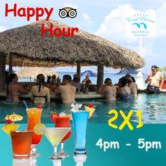 Every day from 4pm to 5pm we have HAPPY HOUR in beverages / Todos los dìas de 4 a 5 de la tarde, tenemos LA HORA FELIZ en bebidas