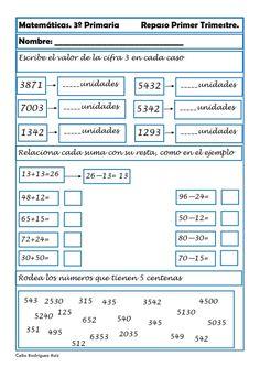 Recursos para el aula: Fichas de matemáticas para Tercero de Primaria Fichas de matemáticas para tercero de primaria, podremos repasar Math Class, France, Third Grade, Mathematics, Periodic Table, Diagram, Education, Tobias, Montessori