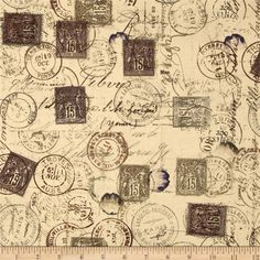 Tim Holtz Eclectic Elements Correspondence Neutral from @fabricdotcom  Designed by Tim Holtz, this cotton print is perfect for quilting, apparel and home decor accents.  Colors include brown, cream, grey, and navy.