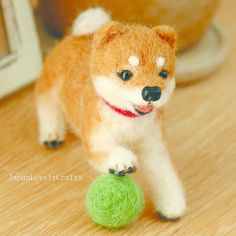 Japanese Needle Wool Felt Mascot DIY Kit - Shiba Dog & Ball - Midori Nakayama - Kawaii Hamanaka - JapanLovelyCrafts