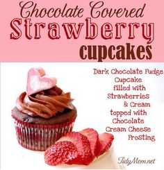 Chocolate Covered Strawberry Cupcakes  at TidyMom