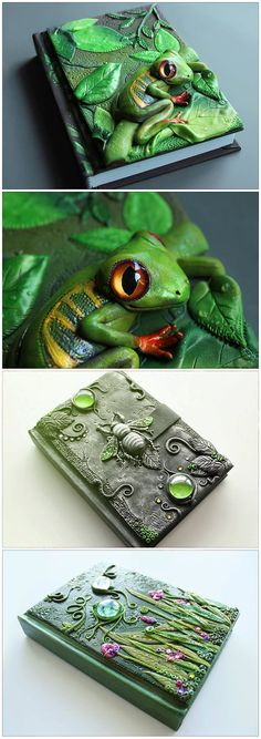 Create unique covers using polymer clay or cold porcelain (biscuit). You can create incredible scenes by modeling the hand or with cutters: Polymer Clay Kunst, Fimo Clay, Polymer Clay Projects, Polymer Clay Creations, Clay Beads, Altered Books, Altered Art, Crea Fimo, Biscuit