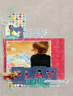 Play Pokemon Layout by Sarah Webb featuring Jillibean Soup Alphabet Soup II, Mushroom Medley and Alpha Tiles