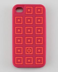 Square Dots Silicone iPhone 4 Case, Winesap Red/Apple by Tory Burch at Neiman Marcus. Red Apple, Iphone 4, Tory Burch, Cool Style, Dots, Neiman Marcus, Cases, Tech, Holiday