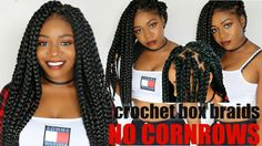 Individual Crochet Box Braids | No Cornrows! Long Large Jumbo 90's Poeti...