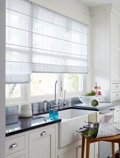 Trendy Kitchen Window Over Sink Roman Shades Curtains Kitchen Window Treatments, Window Decor, Roman Shades, Kitchen Sink Window, Kitchen Window Coverings, Curtain Designs, Kitchen Window Curtains, Window Styles, Kitchen Window Blinds