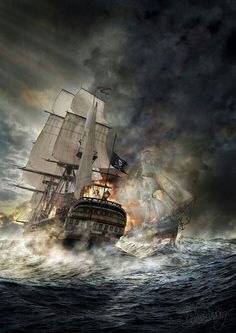 Pirate Ship in stormy seas. Pirate Art, Pirate Life, Pirate Ships, Bateau Pirate, Old Sailing Ships, Ship Paintings, Ghost Ship, Black Sails, Nautical Art