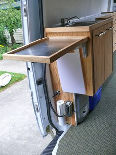 This reminds me to make sure I don't waste any possible slide-out or fold-out temporary space!  Utilize it when I need it and put it away - if it's possible, try to squeeze it in.  RV storage ideas, diy cabinet remodel