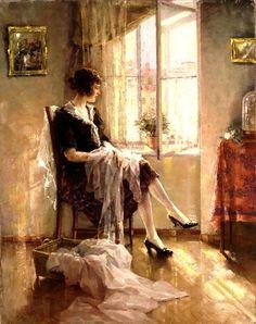 Umvertos Argyros (Greek, 1882 - 1963) Near the Window, 1926, oil on canvas, 100 x 85 cm, The National Gallery, Athens.