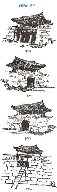 성곽과 성문의 명칭 여장의 명칭 Asian Architecture, Architecture Design, Korean Art, Asian Art, Korean Traditional, Environment Concept Art, Painting Lessons, Picture Design, Design Reference