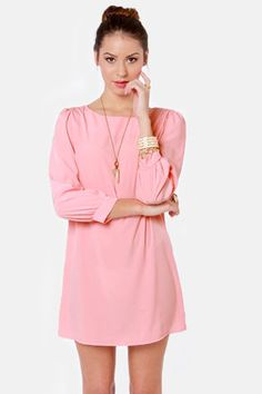 Sorbet-by Doll Peach Shift Dress: Treat yourself to a little something sweet by way of this dress! Peach-y pink woven shift dress is silky soft and lightweight, with a boat neckline and puffed three-quarter sleeves with cuffs. Unlined. 100% Polyester. Hand wash cold. $39