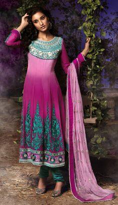 Gravity Fashion - Scintillating Deep Pink & Teal Blue Salwar Kameez