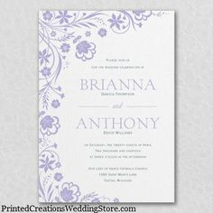 All About Flowers Invitation with its white shimmer paper and floral design sets a romantic tone for a purple or lavender wedding theme.  Can also choose colors to match your theme for custom wedding invitations - www.PrintedCreationsWeddingStore.com.    #purpleweddinginvitations  #purplewedding
