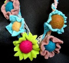 distressed  felt flower  necklace with lace and cord by frankideas from etsy.com