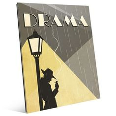"""Click Wall Art 'Drama Film' Graphic Art on Plaque Size: 24"""" H x 20"""" W x 1"""" D"""
