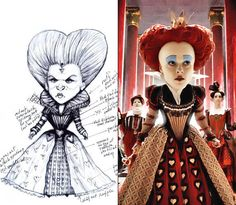 One of the toughest characters Atwood had to dress may have been the Queen of Hearts (Helena Bonham Carter). Her over-the-top appearance not only required the help of Atwood, but also an extensive team of hair and makeup experts and some much-needed technology.Atwood, who took home a Costume Designer Guild award for her work on the film, made Bonham Carter's head seem much larger by outfitting the actress in an Elizabethan-inspired dress with a cinched-in waist and high collar. Bonham Carter…