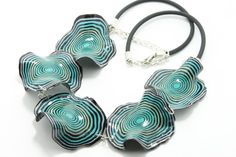 Polymer Clay Handmade Necklace Turquoise Blue White by eteniren