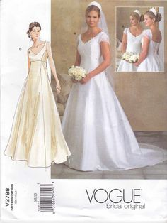 Vogue Sewing Pattern 2788 Bridal Original Misses Size 12-14-16 Wedding Dress Bridal Gown Formal  --  We also have other sizes of this pattern
