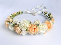 Bridal Floral Hair Wreath / Headpiece of Ivory and Peach Blooms / Handmade Wedding Accessory by BlumArtWedding, $39.99