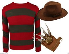 MIXALOT Frauen Fancy Dress Halloween Freddy Krueger Kostüm Claw Haut Streifen Pullover Nightmare Halloween (S/M 36-38, Freddie Krueger Costume)