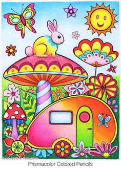 Trailer Coloring Page from the Happy Campers Coloring Book by Thaneeya McArdle