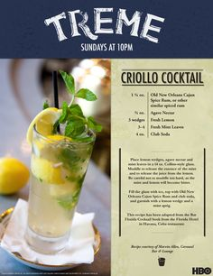HBO - Inside Treme Blog - The Carousel Bar's Criollo Cocktail