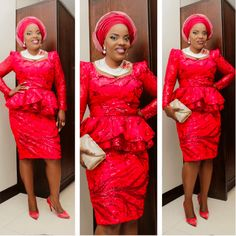 Lovely Aso Ebi Short Skirt and Blouse Style . Lovely Aso Ebi Short Skirt and Blouse Style Short African Dresses, Latest African Fashion Dresses, Short Dresses, African Outfits, African Wear, Lace Dress Styles, Blouse Styles, Lace Skirt And Blouse, Red And Black Outfits