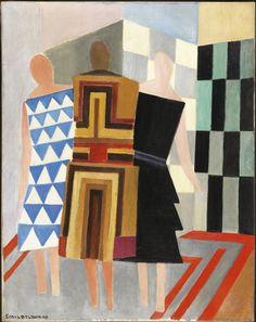 Sonia Delaunay, Vestidos simultáneos (Tres mujeres, formas, colores), 1925, 31 x 23 cm. Museo Nacional Centro de Arte Reina Sofía, Madrid. Depósito temporal de D. Pedro y Dña. Ary Altamiranda, Panamá, 2010