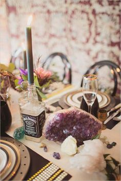 bottle used as candlestick holders | Jack Daniels recycled bottle | #weddingchicks