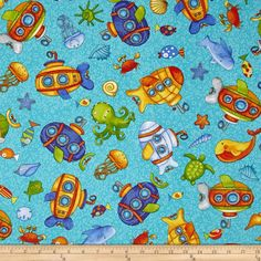 Baby Zoom Submarine Tossed Sea Creatures Teal from @fabricdotcom  Designed by Julie Dobson Miner for Northcott Fabrics, this cotton print fabric is perfect for quilting, apparel and home decor accents. Colors include white and shades of orange, blue, purple, yellow and green.