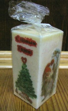 Square Candle Palm Wax Christmas Table Decorations Xmas New Year Gift Decoupage Christmas Scents, Christmas Candle, Xmas, Santa Decorations, Christmas Table Decorations, Wood Cutting, Cutting Boards, Square Candles, Christmas Decoupage