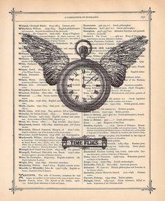 Art Print Time Flies Pocket Watch