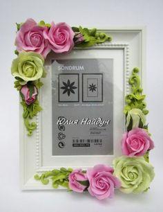 10% скидка постоянным клиентам. Рамка для фото с роза из полимерной глины, г. Москва