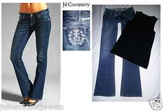 """*RARE FIND* J & Company Jeans the """"Beverly"""" Dark Stretch Denim Signature Pocket Embroidery made in USA 26 *mint condition*"""