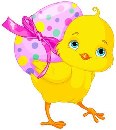 Easter Chicken with Pink Egg Clipart