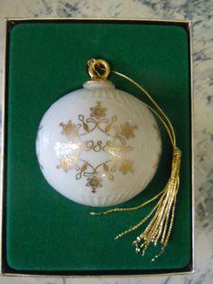 Snowflake Ornament, 1988 Lenox Porcelain Christmas Ornament, Lenox Collectible X-Mas Bulb Ornament  $45.00