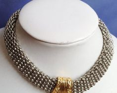 MAGNETIC Woven Silver with Gold Accent Wide CHOKER NECKLACE