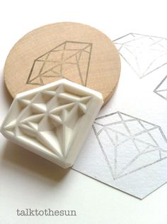 diamond stamp. gemstone hand carved rubber stamp. von talktothesun