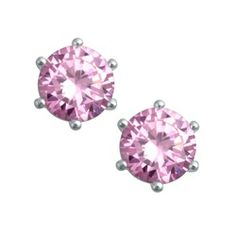 Silver With Pink Cz Studs