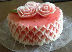 Watermelon cake by Rose. Learn how to make your own watermelon cake at http://www.vegetablefruitcarving.com/watermelon-cakes-1/