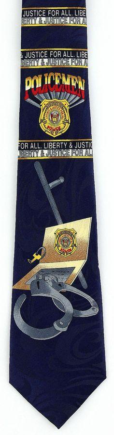 New Liberty & Justice Mens Necktie Police Cop Badge Law Enforcement Neck Tie  #StevenHarris #NeckTie