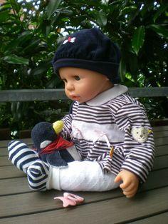 Götz Puppe Cookie 48 cm + Koffer + viel Babykleidung auch von Steiff, Gotz Doll