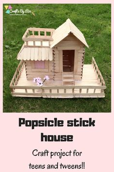 Popsicle stick house tutorial- how to build a Popsicle house - Crafts By Ria : DIY Popsicle stick house to develop the math and engineering skills of kids. This DIY project with icecream sticks is a perfect craft idea for teens and tweens. Arts And Crafts For Teens, Diy Arts And Crafts, Diy Crafts For Kids, Home Crafts, Fun Crafts, Diy For Teens, Popsicle House, Popsicle Stick Houses, Popsicle Stick Birdhouse