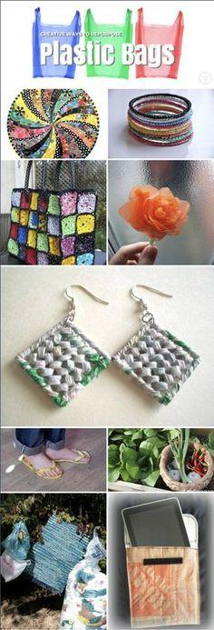 Creative ways to reuse plastic bags ecogreenlove Reuse Plastic Bags, Plastic Bag Crafts, Plastic Grocery Bags, Crochet Plastic Bags, Plastic Waste, Recycling, Reuse Recycle, Upcycled Crafts, Recycled Art