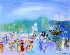 Paris, Place de la Concorde Artwork by Raoul Dufy Hand-painted and Art Prints on canvas for sale,you can custom the size and frame