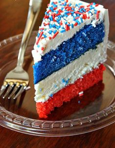 Red, White and Blue Cheesecake Cake is the patriotic treat your 4th of July needs